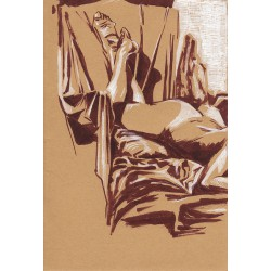 Dessin Origina A5 d'une femme nue allongée, Par Mekaeli