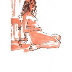 Dessin Original A4 d'une femme nue assise contre une chaise, Par Mekaeli