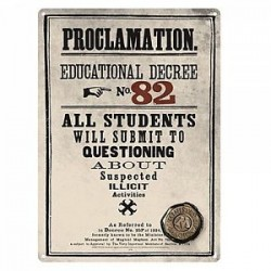 "Harry Potter ""Proclamation Educational Degree No 82"" Plaque en métal"