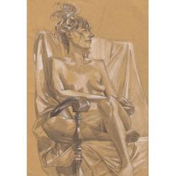 Dessin Original A4 d'une femme nue assise, Par Mekaeli