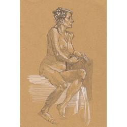 Dessin Original A4 une femme nue le regard perdu, Par Mekaeli