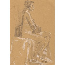 Dessin Original une femme nue assise de profil, Par Mekaeli