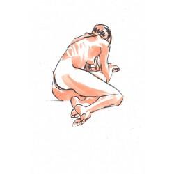 Dessin Original A4 d'une femme nue à demi allongée, Par Mekaeli
