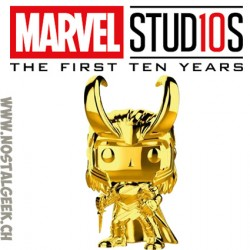 Funko Pop Marvel Studion 10th Anniversary Loki (Gold Chrome) Edition Limitée