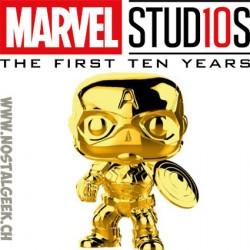 Funko Pop Marvel Studio 10th Anniversary Captain America (Gold Chrome) Edition Limitée