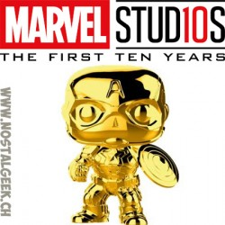Funko Pop Marvel Studio 10th Anniversary Captain America (Gold Chrome) Exclusive Vinyl Figure