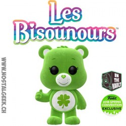 "Funko Pop Animation Care Bear (Bisounours) Good Luck Bear ""Grosveinard "" Flocked Edition Limitée"