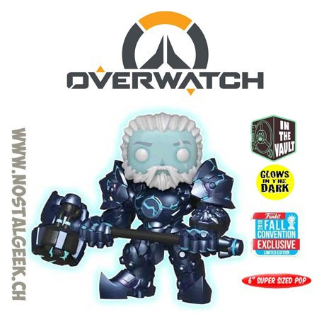 Funko Pop! 15 cm NYCC 2018 Overwatch Reinhardt (Coldhardt) GITD Exclusive Vinyl Figure Box Lightly Damaged