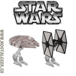 Hot Wheels Star Wars First Order TIE Fighter vs. Millennium Falcon Starship 2-Pack
