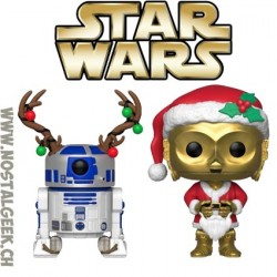 Pack Funko Pop Star Wars Holiday C-3PO as Santa et R2-D2 (Reindeer) Vinyl Figures