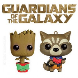 Funko Pop! Mini Marvel Guardians Christmas Groot and Rocket Raccoon mini Wobblers Edition Limitée