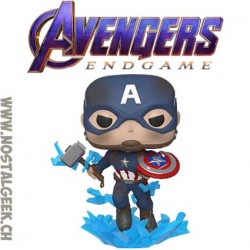 Funko Pop Marvel Avengers Endgame Captain America (with Electrified Mjolnir and Broken Shield) Vinyl Figure