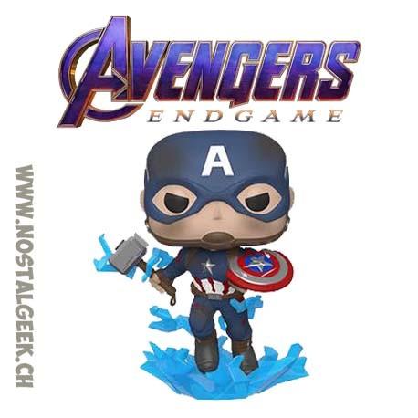 Funko Pop Marvel Avengers Endgame Captain America (with Electrified Mjolnir and Broken Shield) Vinyl Figure