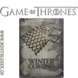 Game Of Thrones - Plaque Murale métal Stark Winter is coming (28x38cm)
