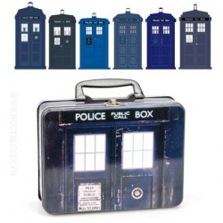 Doctor Who Lunch Box : TARDIS Tin Tote with Dr Who Top Trumps Collectors Cards