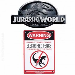 Jurassic World Raptor Fence Metal Sign
