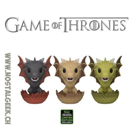 Funko Pop ECCC 2020 Game of Thrones Drogon, Viserion & Rhaegal (Hatching 3-Pack) Exclusive Vinyl Figure