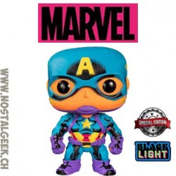 Funko Pop Marvel Captain America (Black Light) Edition Limitée
