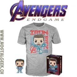 Funko Pop Tee Marvel Avengers Endgame Tony Stark (Quantum Realm Suit) GITD Exclusive Vinyl Figure