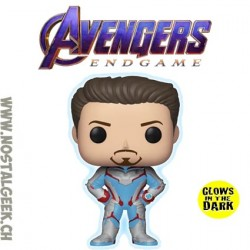 Funko Pop Marvel Avengers Endgame Tony Stark (Quantum Realm Suit) GITD Exclusive Vinyl Figure
