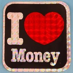 """Sticker vintage """"I Love Money"""" Second hand"""