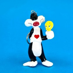 Looney Tunes Tweety & Sylvester heart Keyring second hand figure (Loose)