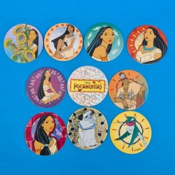 Disney Pocahontas set of 10 second hand Pogs (Loose)