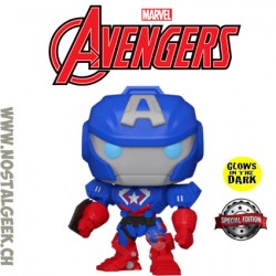 Funko Pop Marvel Avengers Mech Strike Captain America (Mecha) (Glow in the Dark) Exclusive Vinyl Figure