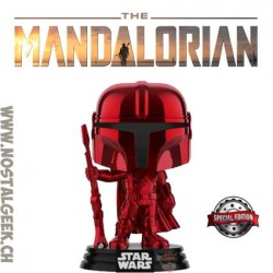 Funko Pop Star Wars The Mandalorian (Red Chrome) Exclusive Vinyl Figure