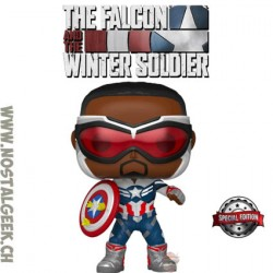 Funko Pop Marvel The Falcon and The Winter Soldier Captain America (Sam Wilson) (Year of the Shield) Exclusive Vinyl Figure