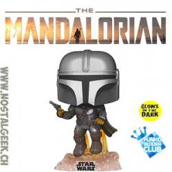 Funko Pop Star Wars The Mandalorian Flying Glow in the Dark Exclusive Vinyl Figure