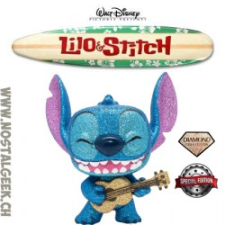 Funko Pop Disney Lilo et Stitch - Stitch with Ukulele (Diamond Glitter) Exclusive Vinyl Figure