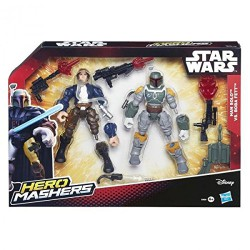 STAR WARS Hero Mashers Pack de Combat Han Solo Vs Boba Fett Action Figures