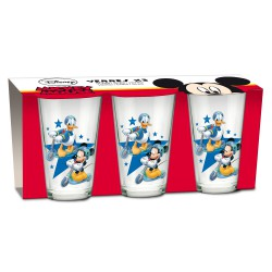 Disney Mickey Mouse and Donald Duck Set o 3 Glasses
