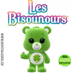 "Funko Pop Animation Care Bear (Bisounours) Good Luck Bear ""Grosveinard "" Flocked Edition Limitée"